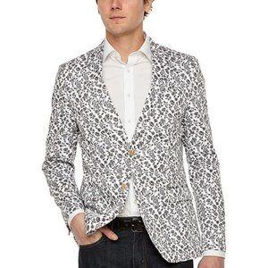 JF J.Ferrar Floral Blazer Sport Coat, Black/White